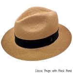 Beige Panama Hat with Black Band