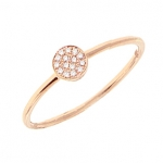 14K Rose Gold Diamond Disc Ring