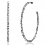 JEST JEWELS Silver Thin Rhinestone Hoops