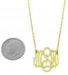 Small 14K Yellow Gold Monogram Pendant