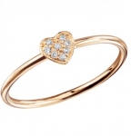 SYDNEY EVAN Pave Diamond Baby Heart Rose Gold Ring