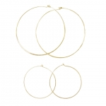 JEST JEWELS 14K Yellow Gold Vermeil Ultra Thin Hoops