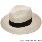 White Panama Hat with Black Band