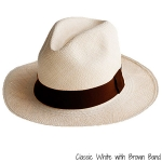 White Panama Hat with Brown Band