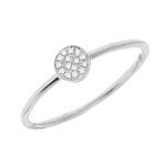 14K White Gold Diamond Disc Ring